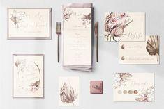 Bohostyle Hochzeitspapeterie mit Einladung, Antwortkarte, Dresscode, Menü und Einladung zum Polterabend Bohostyle, Dresscode, Planer, Gallery Wall, Frame, Design, Home Decor, Seating Plans, Invites Wedding
