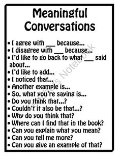 set of posters can be enlarged and displayed on your classroom walls to remind students of proper discussion protocols. The first poster, Meaningful Conversations, provides students with sentence starters that they can use when engaging in discussions. Teaching Strategies, Teaching Reading, Teaching Resources, Avid Strategies, Instructional Strategies, Human Resources, Teaching Ideas, Sentence Starters, Sentence Stems