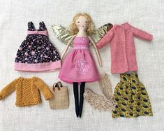 Dress up doll, Handmade cloth doll, doll set,gift for girl, doll with wings, soft doll, dolls to dress, rag doll