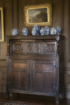 Court cupboard and Chinese porcelain, Gunby Hall, Lincolnshire