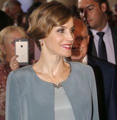 Queen Letizia of Spain is seen at the Miami-Dade College Presidential Medal presentation to her husband King Felipe VI of Spain at the Freedom Tower on September 17, 2015 in Miami, Florida.