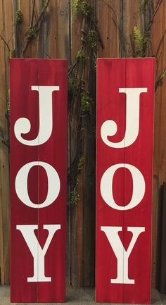 """Our Joy signs are back and we introducing our new Welcome sign! Joy and Welcome signs are 11""""x48"""" and sell for $59.99. #joysign #welcomesign. Available at events and in stores!"""