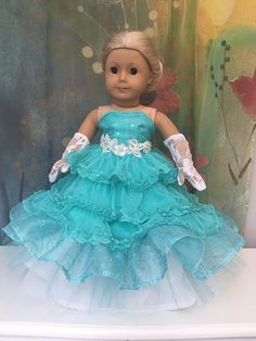 Excited to share this item from my shop: American Girl Aqua Princess Quinceanera or Prom Dress Set American Girl Doll Costumes, American Girl Doll Pictures, American Girl Crafts, American Doll Clothes, Girl Doll Clothes, Girl Dolls, Barbie, Flower Girl Dresses, Prom Dresses