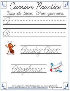 Learn how to write uppercase cursive letters A through F with these free, printable cursive writing worksheets. More handwriting practice sheets available! Cursive Writing Practice Sheets, Cursive Writing Worksheets, Reading Worksheets, Writing A Bio, Writing Area, Writing Words, Cursive Letters, Made Up Words