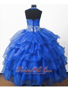 Perfect Beading Ball Gown Halter Top Floor-length Little Girl Pagant Dress- $169.46