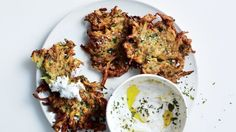 Zucchini-Herb Fritters with Garlic Yogurt Recipe | Bon Appetit