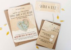 Map weddinginvitation  rustic pastel lace bundle by normadorothy, £2.50