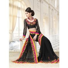 Get Latest collection of Beautiful Online Designer Sarees at affordable prices Only at Social Challenges, Trendy Sarees, Black Saree, Sari, Wonder Woman, Indian, Stylish, Blouse, Collection