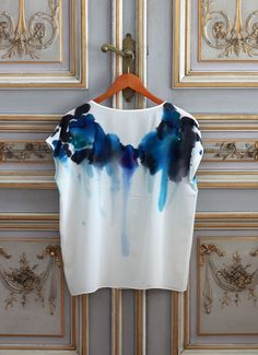 Reserved for Nicole Silk Tee Inkblot Blue by byrachelrose