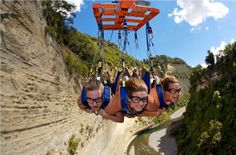 Flying Fox swing at the Mokai Gravity Canyon in New Zealand