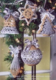 Crochet Christmas ornaments s ♥LCC-MRS♥ with diagrams. Christmas Crochet Patterns, Crochet Christmas Ornaments, Holiday Crochet, Christmas Bells, Christmas Items, Christmas Angels, Christmas Projects, Handmade Christmas, Christmas Tree Ornaments