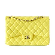 CHANEL bag MAXI classic double flap YELLOW lambskin New | From a collection of rare vintage shoulder bags at https://www.1stdibs.com/dealers/mightychic