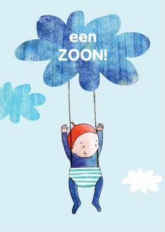 Lief felicitatie geboortekaartje met schattige tekening van baby aan wolkje parachute. Originele kaart van Zus&ik geboorte zoon, een jongen geboren.