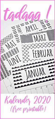 DIY // Kalender // kostenlos // freebie // free printable // calendar // english version // german version Monthly Planner Printable, Printable Calendar Template, Templates Printable Free, Free Printables, Free Calendar, Kids Calendar, Calendar 2020, Diy Kalender, Calendar Pictures