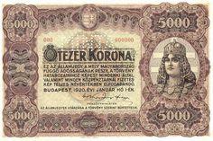 5000 Крон (1920) Венгрия (Hungary) Европа Hungary, Budapest, Europe, Money, Banknote