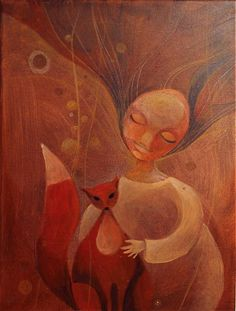 Fox in her arms / ajsha - SAShE. Arms, Fox, Painting, Painting Art, Paintings, Foxes, Draw, Firearms