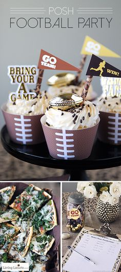 Posh Football Party Ideas with Free Printables. Great Ideas and recipes for the Super Bowl! LivingLocurto.com