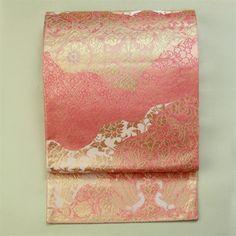 Pink, rokutsu fukuro obi / ピンク地 ゴージャスな裂取り鳳凰花唐草柄 六通袋帯