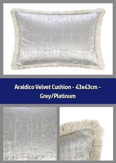 Cushion Material: velvet Dimensions: All over RC logo pattern Grey tones Supplier code: 92096 Barcode: 8015317920967 Bring a little opulence into Rc Logo, Velvet Cushions, Roberto Cavalli, Home Accessories, Sleep, Touch, Throw Pillows, Space, Luxury