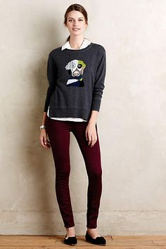 Paige Verdugo Skinny Jeans - #anthrofave doggy sweater!