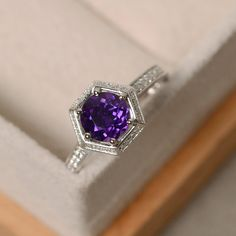 Amethyst engagement ring wedding ring purple by LuoJewelry on Etsy