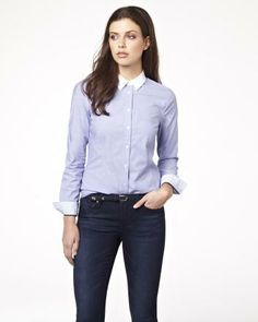 Chambray cotton blouse with contrasting collar RW&CO. Spring 2014 Collection