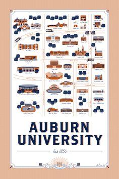 Auburn graphic design graduate creates unique map of AU campus (The War Eagle Reader) Sec Football, Auburn Football, Auburn Tigers, Auburn Alabama, Football Season, Auburn Logo, Auburn Game, Football Parties, Map Design