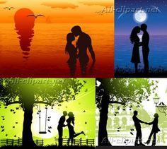 Влюбленные пары - силуэты в векторе