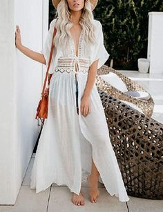 Bsubseach Women Solid Color Long Beach Kimono Cardigan Open Front Bikini Swimsuit Cover Up