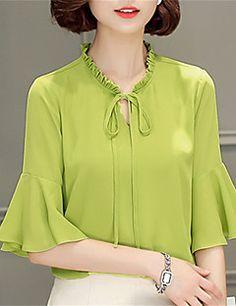 Feminino Blusa Para Noite Casual Trabalho Moda de Rua Primavera,Sólido Floral Azul Rosa Bege Preto Verde Roxo Poliéster Colarinho Chinês