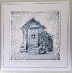 Paper, Card and Ink - Sheena Douglass stamp with snow Sheena Douglass, Crafters Companion Cards, Christmas Cards, Christmas Ideas, Christmas Inspiration, Line Drawing, Painting Inspiration, I Card, Cardmaking