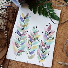 """[🇩🇪⬇️] Some pastel leaves 🌿 using the """"vintage pastels"""" palette by [Unpaid Ad] ~ Watercolor Projects, Watercolor And Ink, Watercolour Painting, Watercolor Flowers, Painting & Drawing, Watercolors, Watercolor Portraits, Watercolor Landscape, Pastel Palette"""