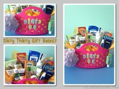 Looking for an alternative idea for a Dirty Thirty birthday present? Check out this gift basket full of personal care items such as shampoo, body wash, toothpaste, etc.