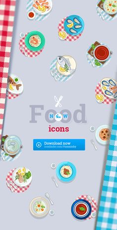 Food icons set. Icons with transparent + red tablecloth or blue tablecloth background.Download:  https://www.iconfinder.com/Yumminky?ref=YumminkyIf you want another icon combination (food / plate / tablecloth ) please send me a message.