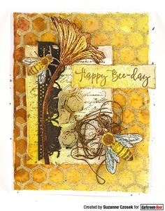 Card by Suzanne Czosek using Darkroom Door Buzzing Bees Stamp Set and Honeycomb Background Stamp Mini Mason Jars, Vintage Bee, Bee Cards, Distress Oxide Ink, New Backgrounds, Flower Stamp, Card Making Techniques, Journal Covers, Gold Paint