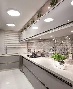 Boa tarde com uma cozinha linda 🥰 Projet Alcove, Kitchen Island, Kitchen Ideas, Dining Room, Kitchens, Tips, Floating Kitchen Island