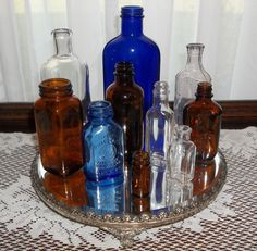 Lot of Cobalt Blue Brown and Clear Vintage by andreasantiques, $30.00