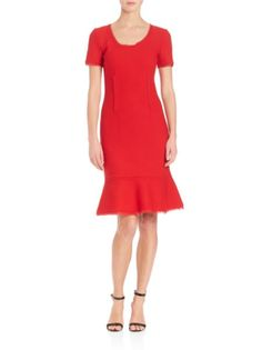 St. John - Solid Flutter Hem Dress