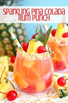Drink recipes 166914729927433740 - If you love pina coladas, you're going to love this Sparkling Pina Colada Rum Punch. This delicious cocktail combines sparkling wine with pineapple juice and coconut rum making it the perfect summer cocktail! Pina Colada Rum, Mango Sangria, Alcohol Drink Recipes, Rum Punch Recipes, Alcoholic Punch Recipes, Adult Punch Recipes, Fun Drinks Alcohol, Rum Recipes, Liquor Drinks