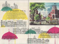 """Image from the pocket map -- """"The Story of Disneyland with a complete guide to Fantasyland, Tomorrowland, Adventureland, Frontierland, Main St. U.S.A."""" showing the description of Main St., U.S.A. From 1955."""