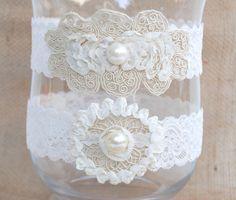Wedding Garter Set Bridal Toss Ivory Lace Keepsake Baby Baptism Christening Rustic Vintage Country