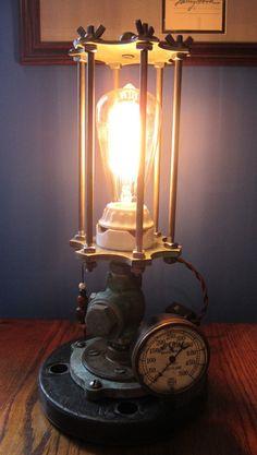 Steampunk Art Machine Age Industrial Design Table Lamp with Edison Bulb | eBay