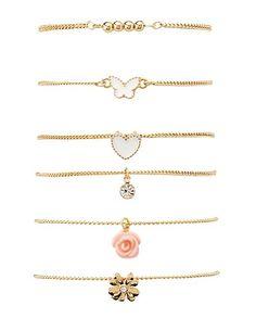 Stackable Charm Bracelets - 6 Pack #charlotterusse #charlottelook