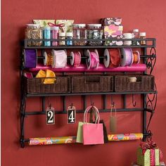 58aedbcf1b Ribbon Rack Gift Wrap Storage Wall Mounted Wrapping Paper Craft Organizer  Home  Harper Craft Organization