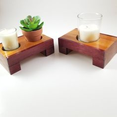 DIMS: X X Natural wood color with clear coat finish. Can also be used for housewarming gift as well. Handmade Candle Holders, Wood Candle Holders, Candle Holder Set, Diy Wood Projects, Wood Crafts, Woodworking Basics, Wood Colors, Natural Wood, Candles