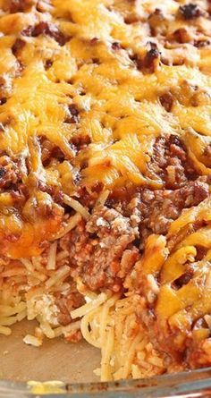 MIllion Dollar Spaghetti ~ Spaghetti, spaghetti sauce, beef and cream cheese mixture meal ... that tastes like a million bucks