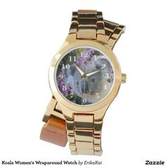 Koala and Orchids Women's Wraparound Silver Watch, silver or gold.