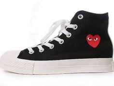 Converse All  Star Unisex Black CdG logo prints High Top Canvas Shoes original