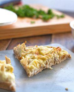 healthy chicken alfredo pizza - homemade wheat crust, cheese cauliflower sauce, etc. 158 calories per slice.