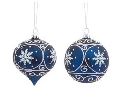 pretty navy and white glass christmas ornament